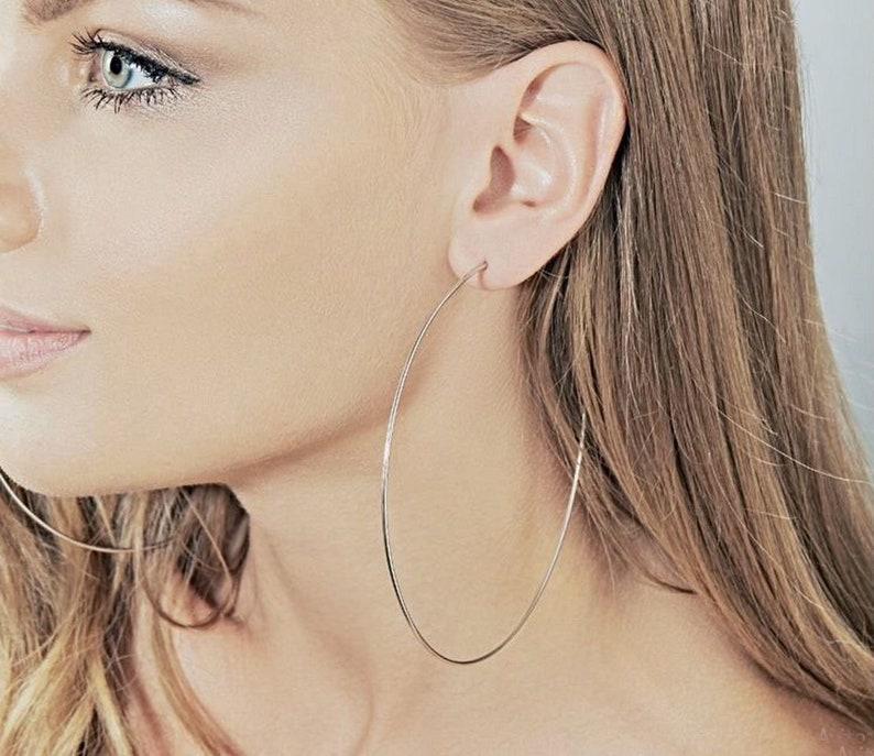 4 inch Hoop Earrings sterling silver 925 best holiday gift Length 10.0 cm