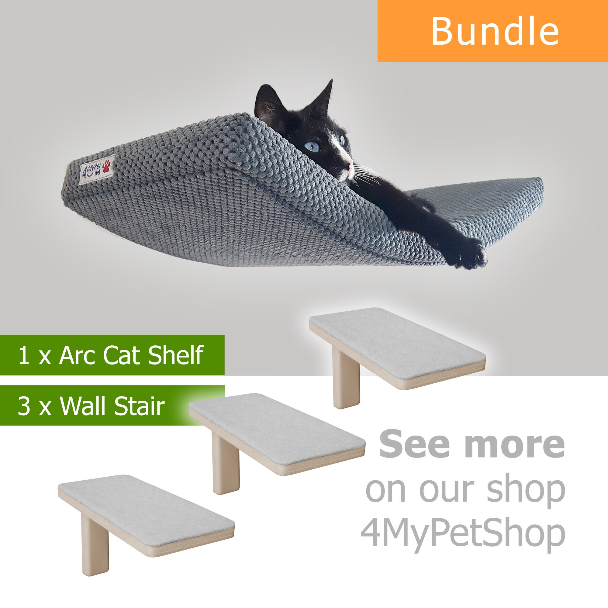 ARC 60 bundle 1+3 cat shelf cat shelves cat furniture cat bed cat wall shelves cat perch catze cat gift kitten stair step cat climbing