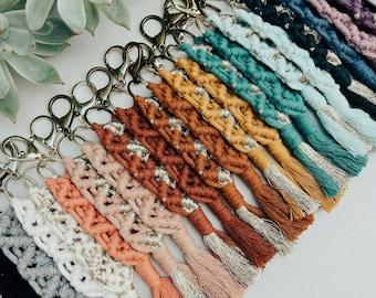 Macrame Keychain | Handmade Modern Macrame Boho Rose Handbag Charm Keychains