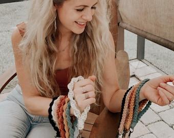 Macrame Keychain Wristlet | Handmade Modern Macrame Boho Wristlet Keychain Handbag Charm