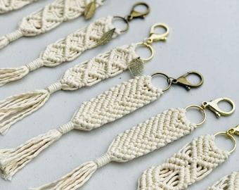 Macrame Feather Keychain | Handmade Modern Macrame Boho Rose Handbag Charm Keychain