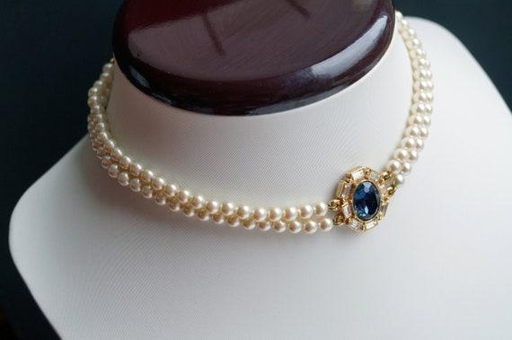 Vintage Pearl Choker  London Blue Topaz Choker