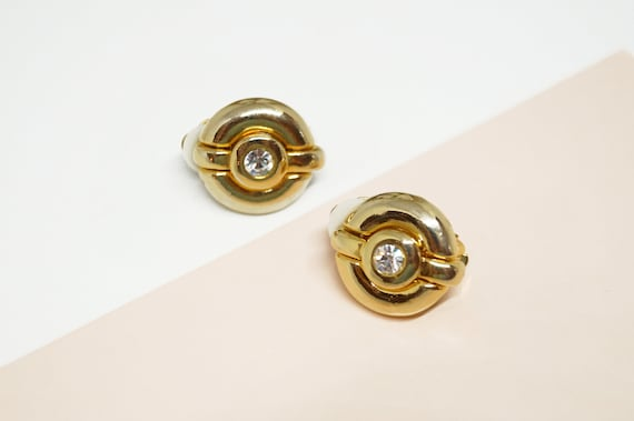 ANDRE COURREGES Earrings, Chunky Gold Tone Crystal