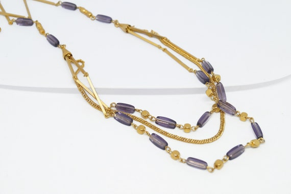 Amethyst lavender necklace vintage, multi chain ne