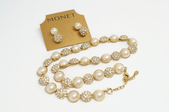 Monet pearl necklace, Pearl parure set, Monet rhin