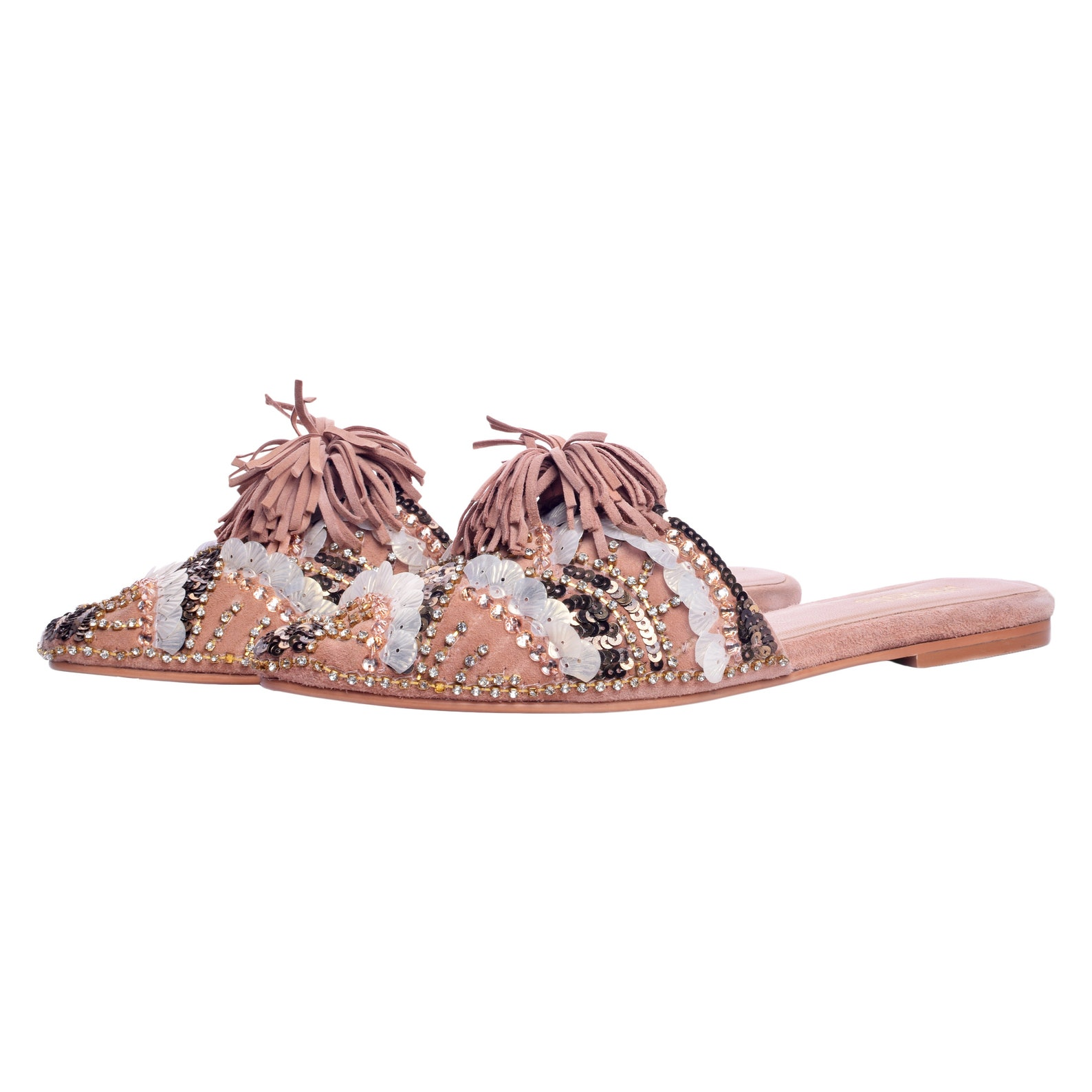 embroidered leather ballet flat sandal