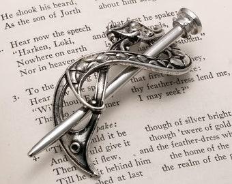 Small silver metal viking celtic alligator hair clip for fine thin hair