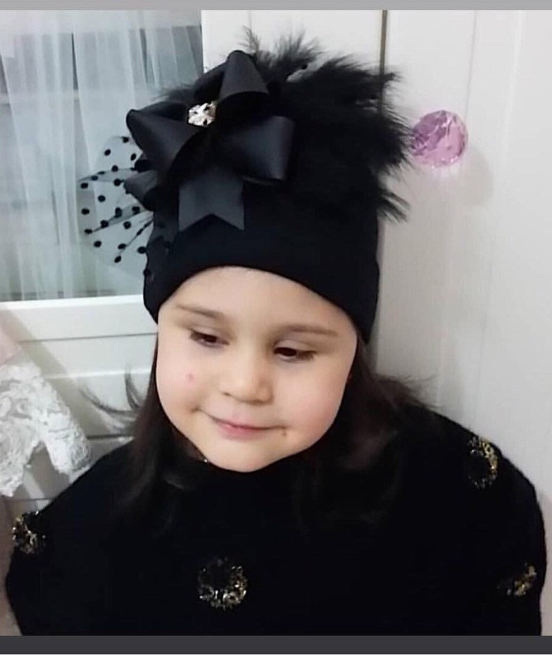 Black fancy beret Feathered Beanie Kids Beret Winter Hat  32c4a0f4ae4