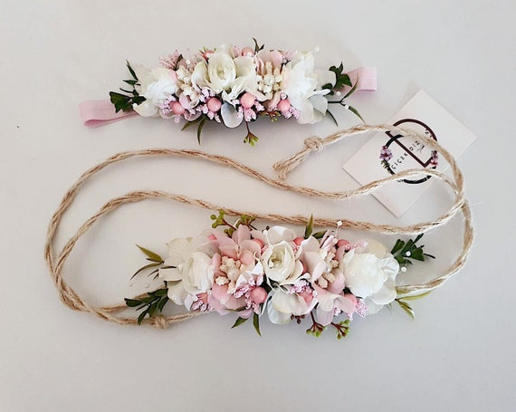 ONE OFF 2pcs Mummy And Me Grey and Pink Floral Headband Crowns Twinning Hair Accessories Photoshoot Accessories /& Clip Mother/'s Day Gift