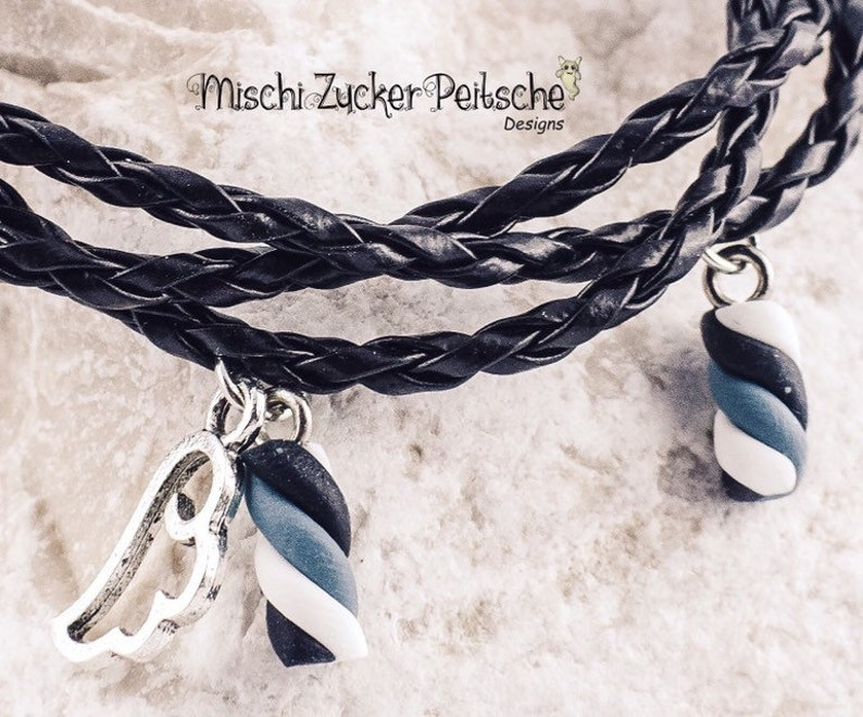 Braided marshmallow bracelet in black leather with magnetic clasp 15171921 cm possible