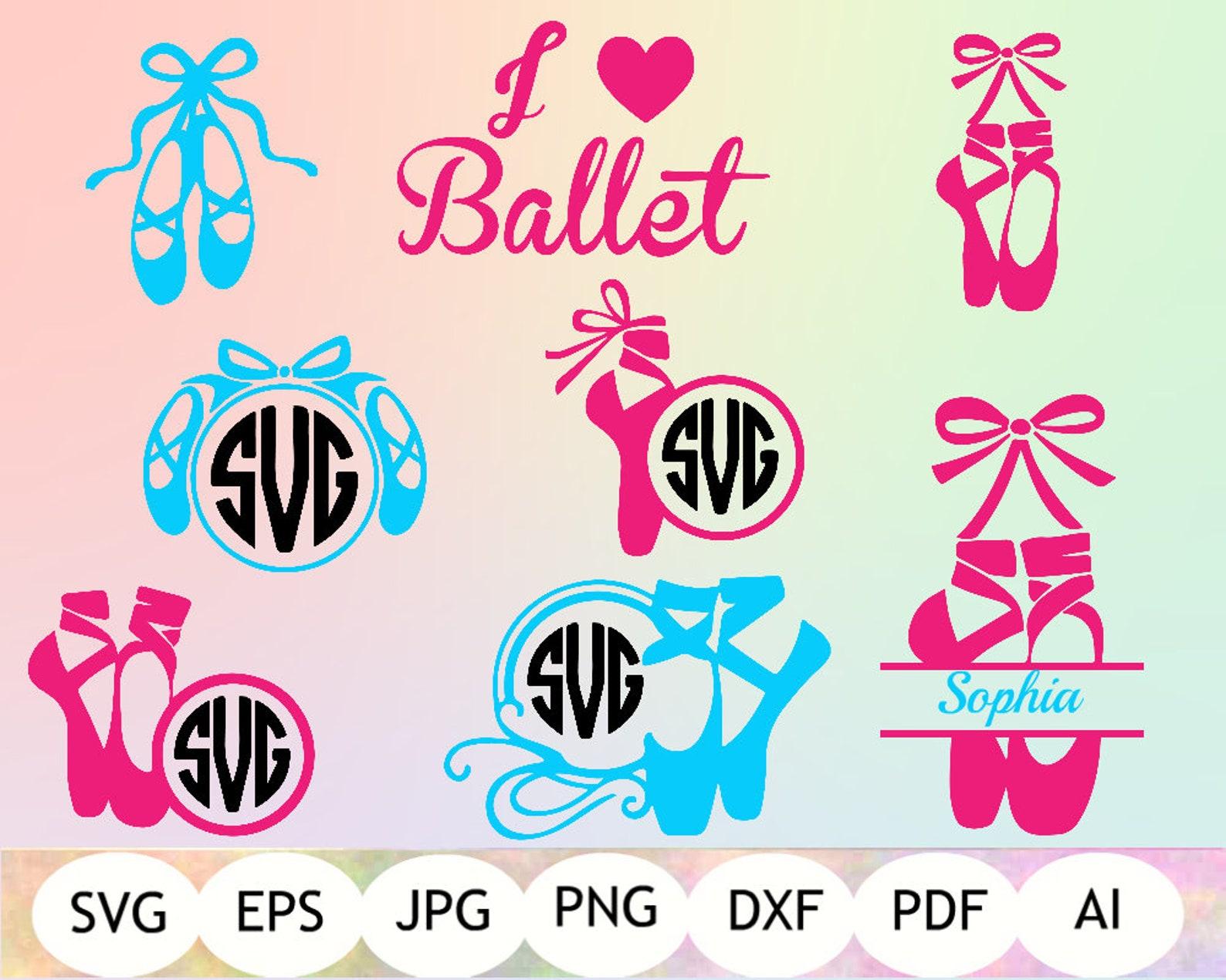 ballet monogram svg, ballet shoes svg, ballerina cut file, i love ballet clipart, silhouette cameo, cricut, instant download