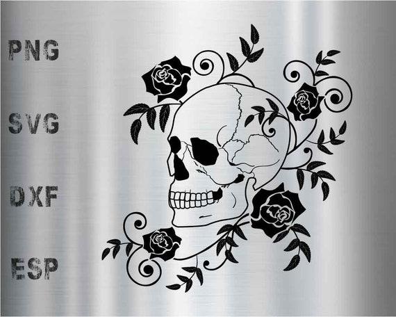Roses Skull Flower Silhouette Vector Files Svg Eps Dxf Etsy