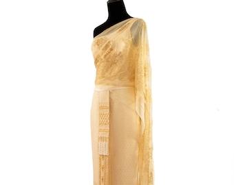 0639d3fe29 Thai Traditional Special Event Dress, Cream (One Shoulder). Bride. Thai  Dress, Thai Wedding.