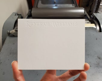 Custom Personalized Letterpress Blind Debossed Notecards with Envelopes and Storage Tin