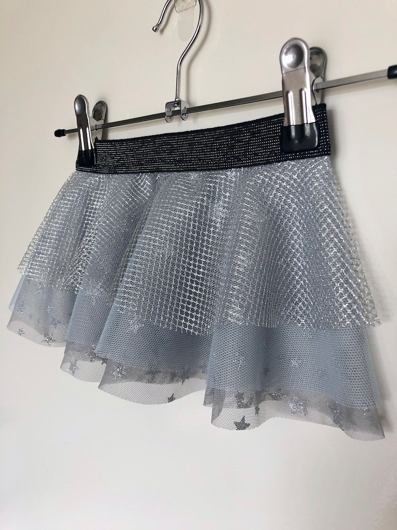 Baby Blue and Silver Tulle Baby Girls Skirt