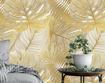 Removable Wallpaper Gold Etsy