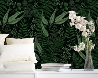 Floral Pattern with Leaves Removable Wallpaper-Peel and Stick Wallpaper-Wall Mural- Self Adhesive Wallpaper