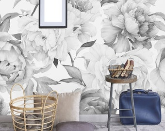 Giant Black And White Peony Removable Wallpaper Peel Stick Wall Mural Self Adhesive