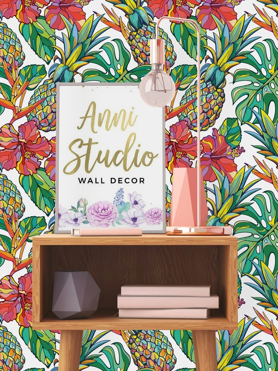 Pineapples and Palm Leaves Removable Wallpaper-Peel and Stick Wallpaper-Wall Mural Self Adhesive Wallpaper