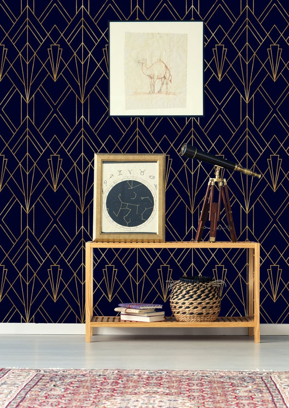 Gold And Navy Blue Geometric Removable Wallpaper Peel And Etsy
