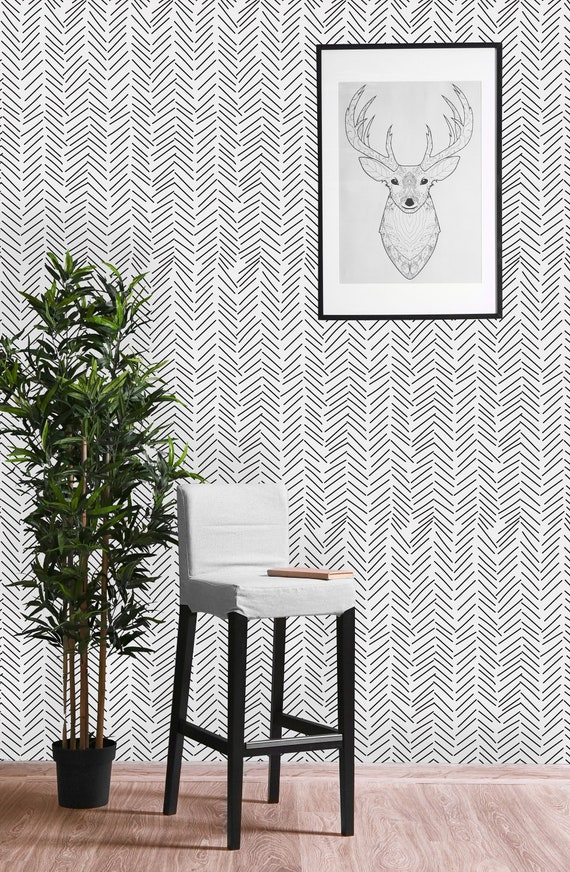 Black And White Geometric Sticks Removable Wallpaper Peel And Stick Wallpaper Wall Mural Self Adhesive Wallpaper