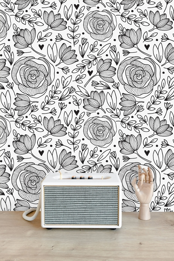 Black And White Floral Removable Wallpaper Peel And Stick Etsy