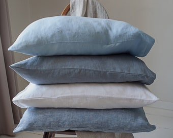 Pure linen pillowcase. Pillowcases. Standard, queen, king, euro sham and custom size pillow cover. Various sizes and colors.