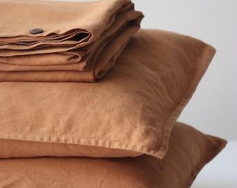 Linen bedding set. Terracotta bedding. Linen bedding. Linen duvet cover. Queen linen bedding. King linen quilt.