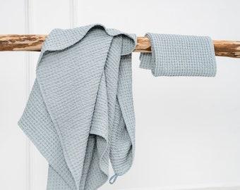 Bath Towel SET in Blue - Linen bath, sauna towel - Waffle textured ice blue linen towel - Body linen towels - Bath linens - Linen gift