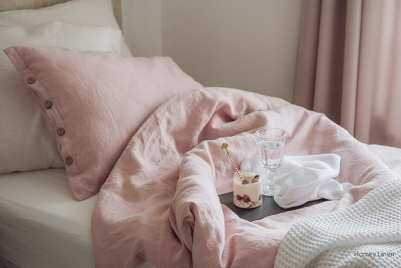 Stonewashed Linen Pillowcase Pink