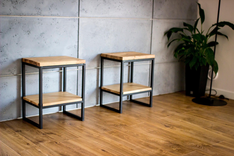 Simple Industrial Nightstand Bedside Table