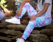 Pastel dreams joggers, tie dye joggers, pastel tie dye pants, pastel joggers, blue tie dye joggers, lavender tie dye pants, tiedye sweatpant