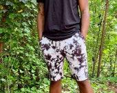 Black tie dye lounge shorts, black and white sweatshorts, summer black shorts, black beach shorts, tie dye shorts, heady lounge shorts,