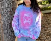 Hippie van sweatshirt, tie dye hippie van, tie dye sweatshirt, tie dye pullover, hippie pullover, hippie sweatshirt, custom tie dye pullover