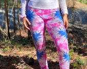 tie dye leggings, boho blue leggings, hippie pink leggings, boho purple leggings, heady heart leggings, pink heart leggings, psychedelic