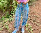 Tie dye boho pants, teal tie dye pants, hippie tie dye pants, hippie yoga pants, tie dye yoga pants, tie dye harem pants, hippie harem pants
