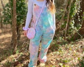 Pastel jumpsuit, tie dye jumpsuit, handmade jumpsuit, hippie jumpsuit, hippie overalls, pastel overalls, tie dye overalls, hipster overalls