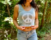 Peace handmade tank, hippie tie dye crop tank, tie dye yoga top, peace crop top, tie dye crop tank, hippie yoga tank top, tie dye crop top