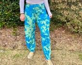 Teal bleached boho pants, mermaid boho pants, blue flow pants, tie dye flow pants, tie dye harem pants, blue harem pants, hippie harem pants
