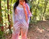 Fall tie dye set, fall jumpsuit, tie dye jumpsuit, tie dye overalls, hippie overalls, hippie jumpsuit, hippie scarf set, tie dye scarf,