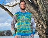 long sleeve tie dye, blue tie dye shirt, gray tie dye shirt, heady yellow shirt, hippie tie dye shirt, indie tie dye shirt, dope tie dye top