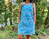 Wavy overall dress, tie dye overall dress, handmade overall dress, boho overall dress, handmade overalls, teal overall dress, beachy overall