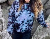 Tie dye pullover, mushroom pullover, hippie mushroom pullover, mushroom sweater, tie dye sweater, hippie tie dye sweater, heady pullover,