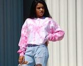 Pink crop pullover, hippie crop pullover, breast cancer aware, boho swirl pullover, heady crop pullover, tie dye pink crop pullover, hipster