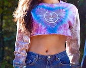 Long Sleeve crop top, tie dye heart top, purple boho crop top, heady heart crop top, blue boho crop top, hippie tie dye top, grey died top