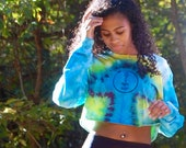 Long sleeve crop top, tie dye mushroom top, blue boho crop top, artsy tie dye top, psychedelic crop top, green tie dye top, yellow heady top