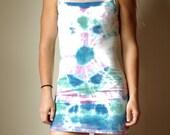 Boho Mandala Dress, blue tie dye dress, green tie dye dress, lavender boho dress, blue boho dress, hippie green dress, beachy boho dress