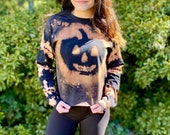 Bleach dye pumpkin shirt, Halloween bleach dye, bleached pumpkin shirt, long sleeve pumpkin shirt, heady bleach shirt, heady pumpkin shirt,