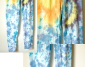 Assorted Youth Sized Tie dye leggings, beachy boho leggings, blue boho leggings, blue dyed leggings, green dyed leggings, heady leggings,