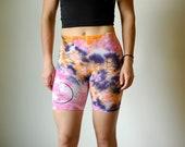 Heady zig zag shorts, pink boho spandex, purple boho spandex, orange hippie shorts, heady summer spandex, hippie workout shorts, purple